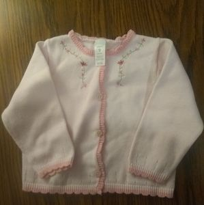 Carter's baby's pink knit cardigan with flowers